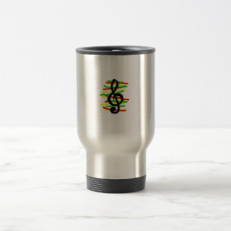 Treble Clef Graphic Black with Red Yellow Green Coffee Mug