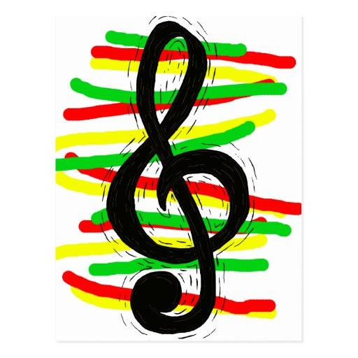 Treble Clef Graphic Black with Red Yellow Green Postcard