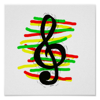 Treble Clef Graphic Black with Red Yellow Green Poster