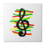Treble Clef Graphic Black with Red Yellow Green Ceramic Tiles