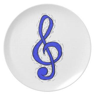 Treble Clef Graphic Design Medium Blue plate