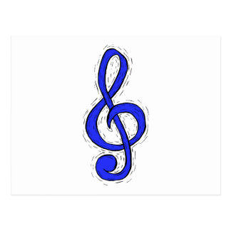 Treble Clef Graphic Design Medium Blue Postcard