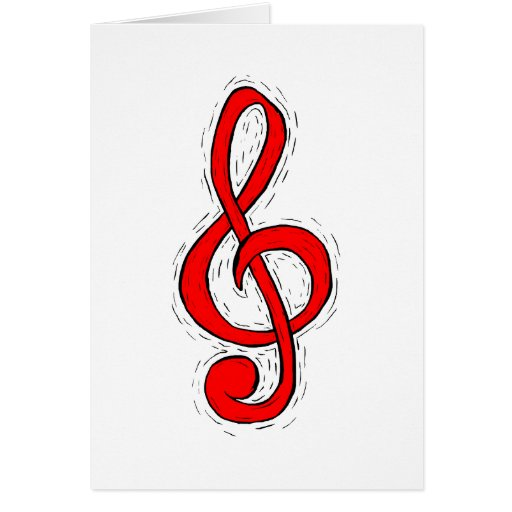 Treble Clef Graphic Design Red Greeting Card