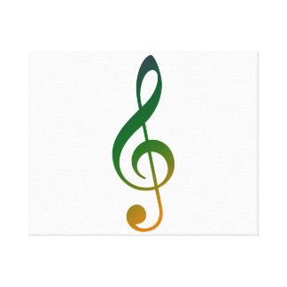 Treble clef green orange yellow canvas print