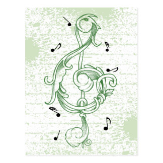 Treble clef green scrollwork sol note key postcard