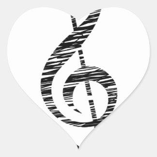treble clef heart sticker