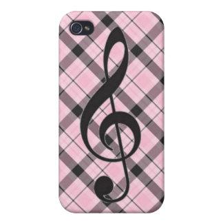 Treble Clef iPhone 4 Case- Pink Plaid