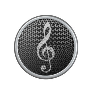 Treble Clef Metallic Mesh Pattern Speaker