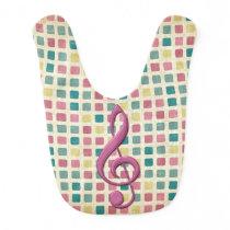 Treble Clef Mosaic Pattern Pink and Teal Bib