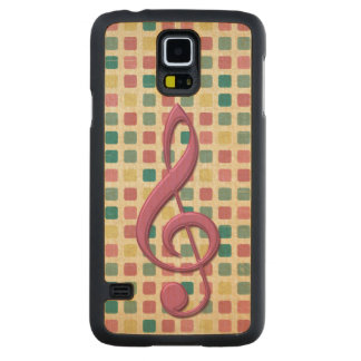 Treble Clef Mosaic Pattern Pink and Teal Carved Maple Galaxy S5 Slim Case