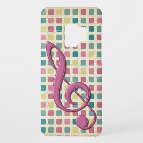 Treble Clef Mosaic Pattern Pink and Teal Case-Mate Samsung Galaxy S9 Case