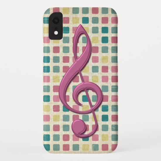 Treble Clef Mosaic Pattern Pink and Teal iPhone XR Case