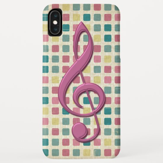 Treble Clef Mosaic Pattern Pink and Teal iPhone XS Max Case