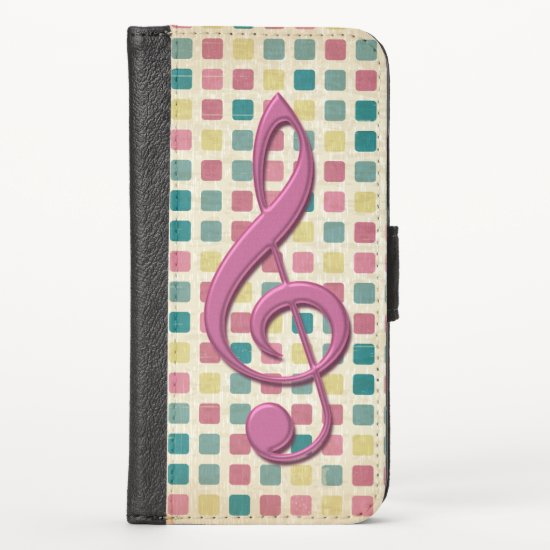 Treble Clef Mosaic Pattern Pink and Teal iPhone XS Wallet Case