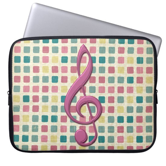 Treble Clef Mosaic Pattern Pink and Teal Laptop Sleeve