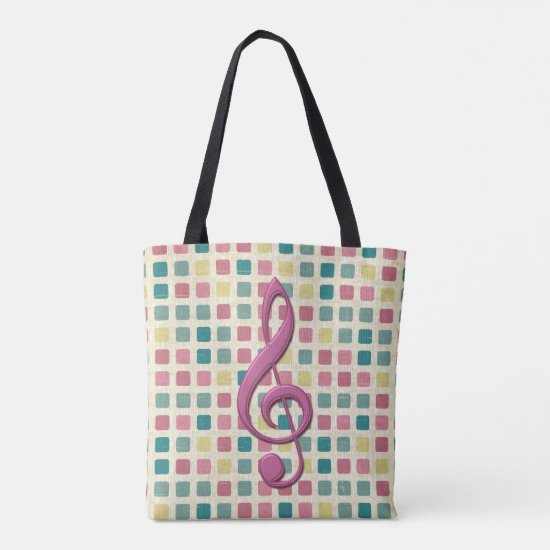 Treble Clef Mosaic Pattern Pink and Teal Tote Bag