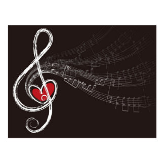 Treble Clef Music Love Postcard