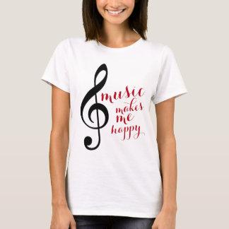 treble clef, music makes me happy T-Shirt