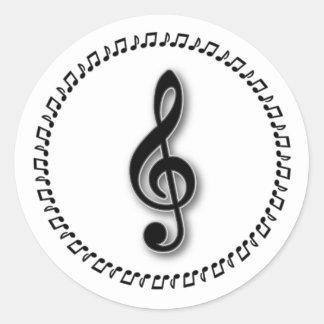 Treble Clef Music Note Design Classic Round Sticker