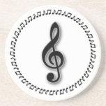 Treble Clef Music Note Design Drink Coasters