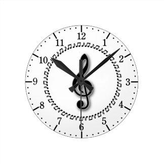 Treble Clef Music Note Design Round Clock