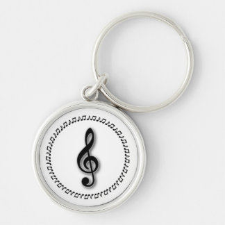 Treble Clef Music Note Design Silver-Colored Round Keychain