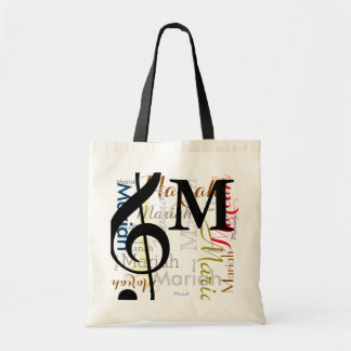 treble clef music note monogram with color names budget tote bag