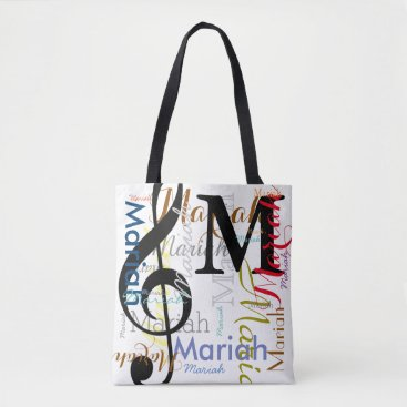 mixedworld treble clef music note monogram with color names tote bag