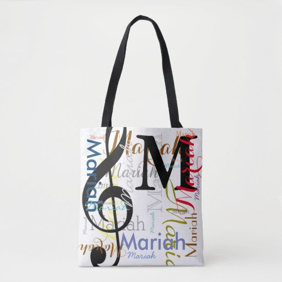 treble clef music note monogram with color names tote bag