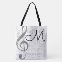 treble clef music note monogram with name white