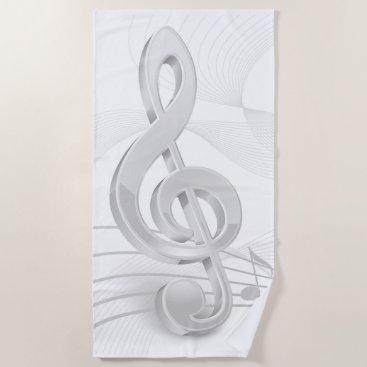 Beach Themed Treble Clef Music Notes Beach Towel