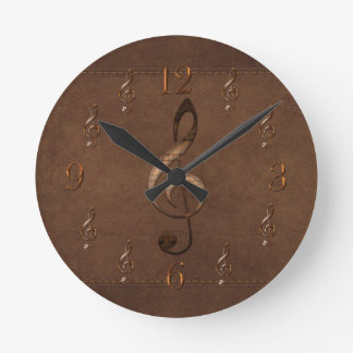 Treble Clef Music-themed Faux Leather Wall Clock