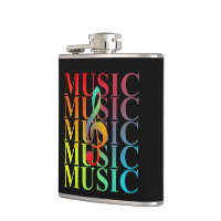 Treble Clef Music Typography Colorful Graphic Flask