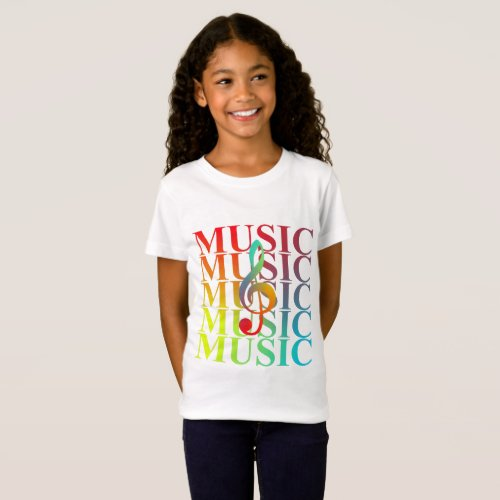 Treble Clef Music Typography Colorful Graphic T_Shirt