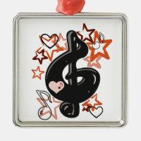 Treble clef music with stars