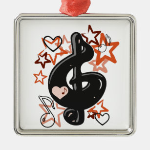 Treble clef music with stars metal ornament