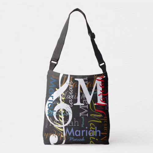 treble-clef musical note monogram with color names crossbody bag