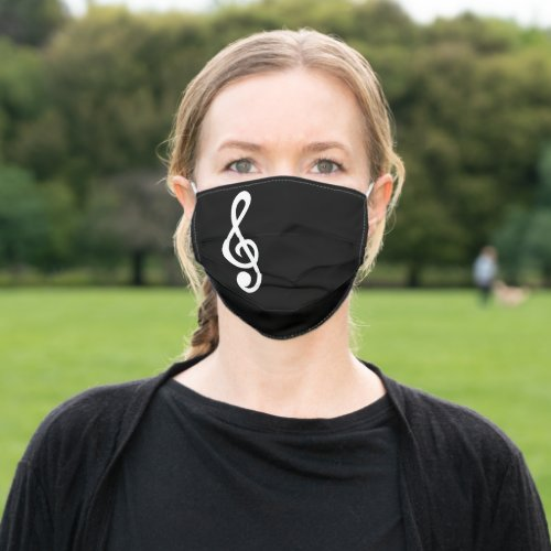 Treble Clef Musical Note Music Plain Black Cute Cloth Face Mask