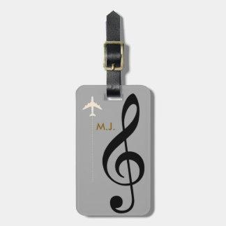 treble clef musician travel luggage tag