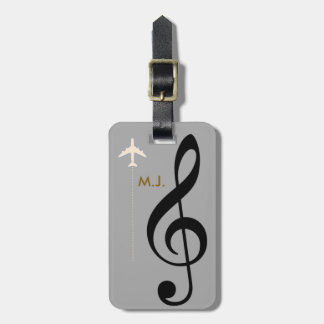 treble clef musician travel tag for luggage