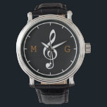 "treble clef note custom time music watch<br><div class=""desc"">Add your own initial letters to this simple and stylish item for music-lovers</div>"