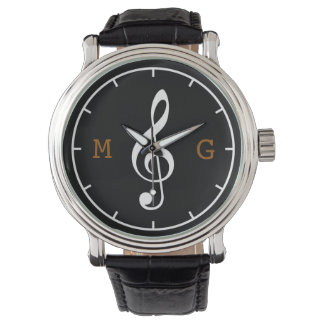 treble clef note custom time music watch