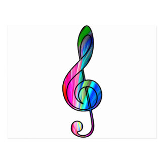 Treble clef note in color_ postcard