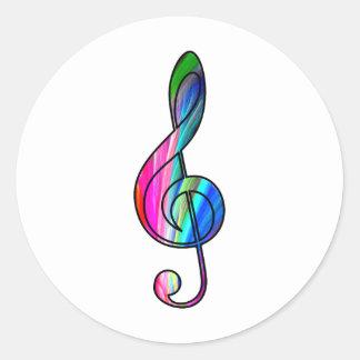 Treble clef note in color_ round sticker