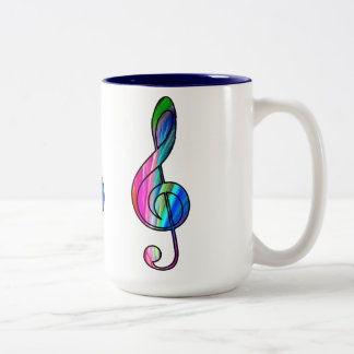 Treble clef note in color_ Two-Tone coffee mug