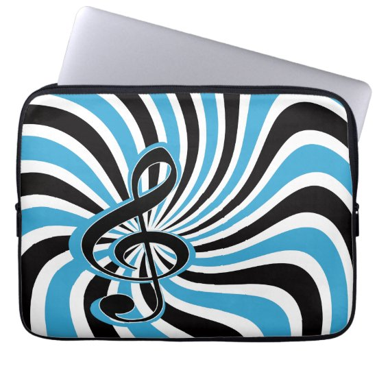 Treble Clef on Blue Retro Background Computer Sleeve