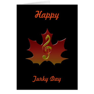 Treble Clef Overlaying Red Maple Leaf Card