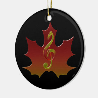 Treble Clef Overlaying Red Maple Leaf Ceramic Ornament