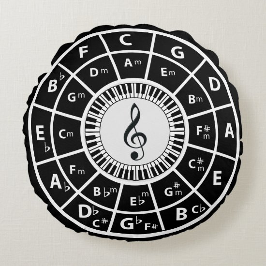 Treble clef Piano Keys Circle of Fifths Round Pillow