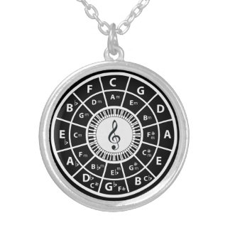 Treble clef  Piano Keys Circle of Fifths Silver Plated Necklace